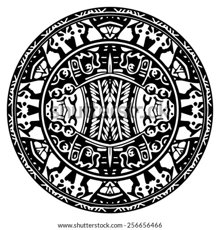 Circle reminiscent of the Aztec calendar