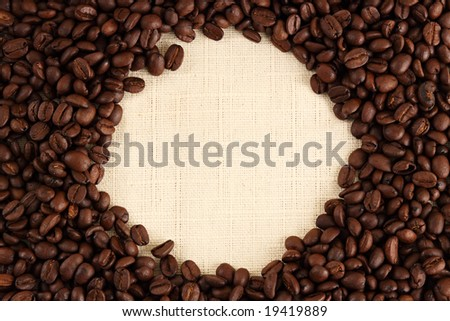 circle shape in coffee beans background