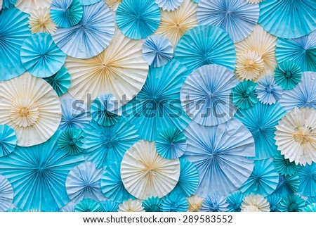 circle shape of origami blue and white papers for Background texture - stock photo