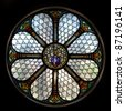 circle shape stained glass window in Hungary - stock photo