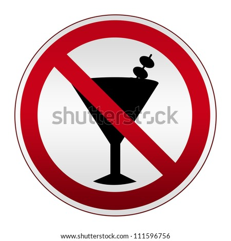 Circle Silver Metallic With Red Border Plate For No Alcohol Sign Isolated on White Background - stock photo