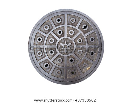 Circle steel manhole cover or metal sewer on the street in Japan isolated on white background with cliping path - stock photo