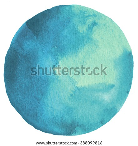 Circle watercolor painted background. Paper texture. - stock photo