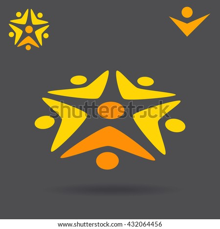 Circle with people which work together, solution finding logo concept, 2d and 3d illustration, raster - stock photo