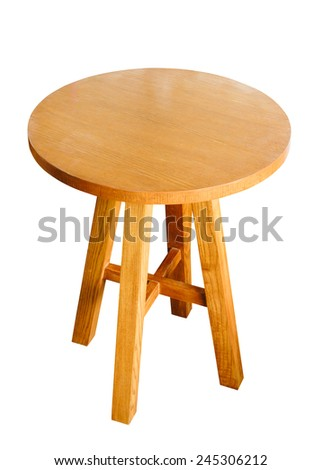 circle wood table isolated with clipping path - stock photo