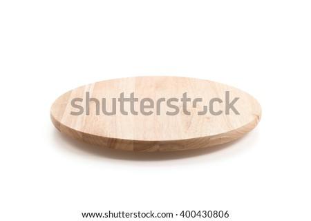 circle wood tray on white background - stock photo