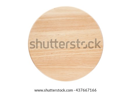 circle wooden tray isolated on white background