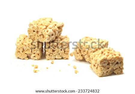 Circles and Squares - Gooey marshmallow treats made with circle-shaped wheat cereal. - stock photo