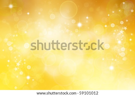 Circles and stars yellow abstract background - stock photo