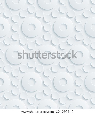Circles 3d seamless background. Light perforated paper pattern with cut out effect.  - stock photo