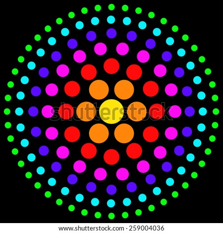 Circles of multicolored dots on a black background. - stock photo