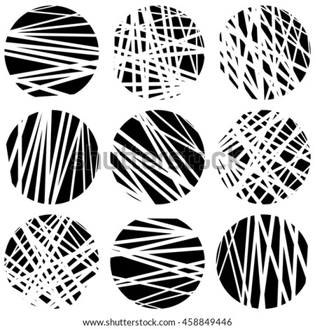 Circles with random chaotic, irregular straight lines. Dynamic lines clipped in circles. - stock photo