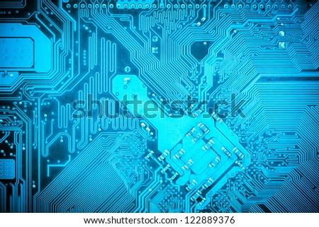 circuit board background of computer motherboard - stock photo