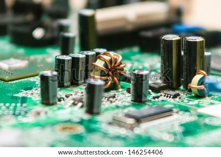 circuit board background of computer motherboard and electronics - stock photo
