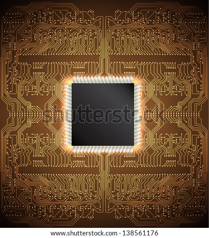 Circuit board background. Raster version of the loaded vector - stock photo