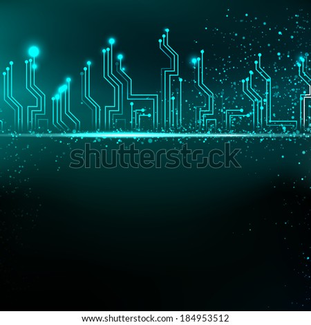 Circuit board background with blue electronics.  illustration. - stock photo