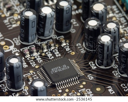 Circuit board close up. - stock photo