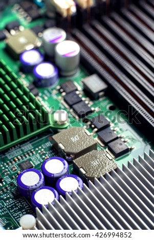 Circuit board computer pcb background it services - stock photo