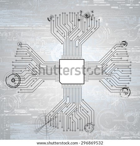 circuit board cpu  illustration - stock photo