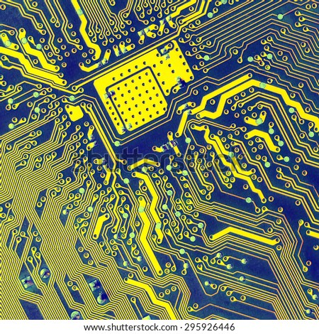 Circuit Board. Extreme close up. current track circuits - stock photo