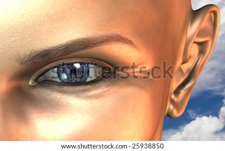 Circuit board eye close up - stock photo