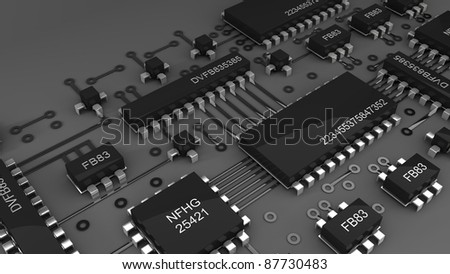 Circuit board.  high resolution 3d digitally generated image. - stock photo