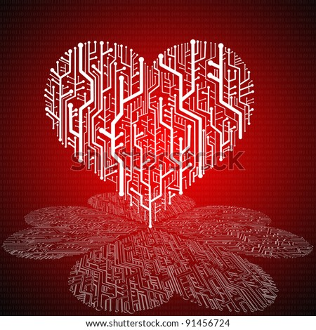 Circuit board in Heart shape with pattern on ground, Technology background