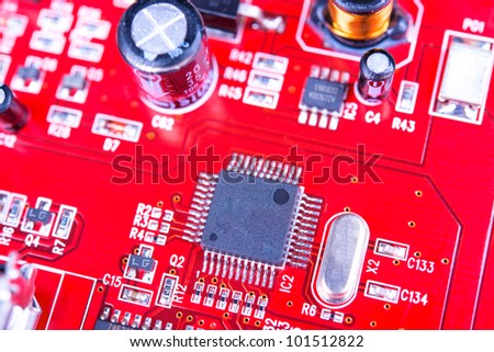 Circuit board of computer by closeup . - stock photo