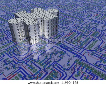 Circuit board pattern and puzzle - stock photo