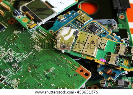 Circuit Board with a lot of different components - stock photo