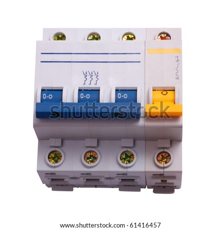 Circuit Breaker three phase on a white background. Circuit breaker used on items such as a residential iron, hot water heater, a kitchen oven,  or an electric clothes dryer. The isolated object - stock photo