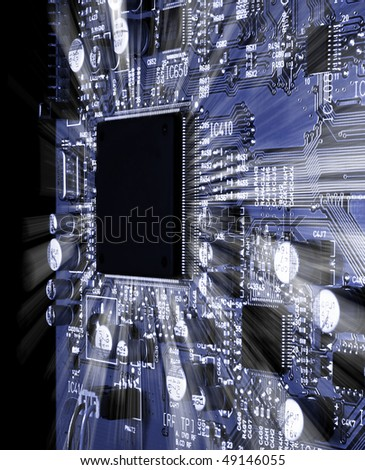 circuit with rays - stock photo