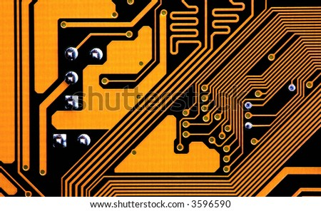 circuits of a motherboard - stock photo