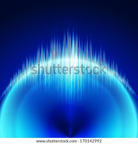 Circular blue equalizer. Raster version. - stock photo