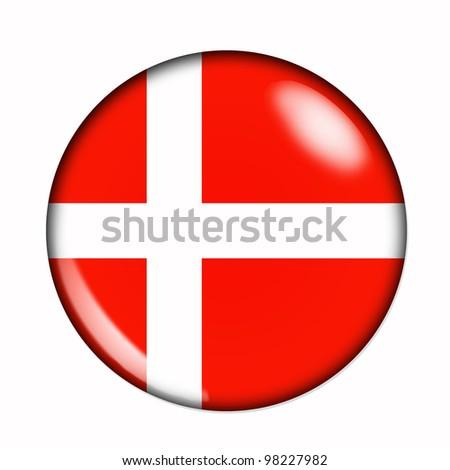 Circular,  buttonised flag of Denmark - stock photo