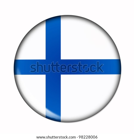 Circular,  buttonised flag of Finland - stock photo