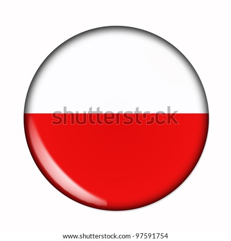 Circular, buttonised flag of Poland - stock photo