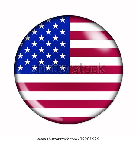 Circular,  buttonised flag of United States of America - stock photo