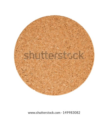 Circular cork trivet isolated on a white background