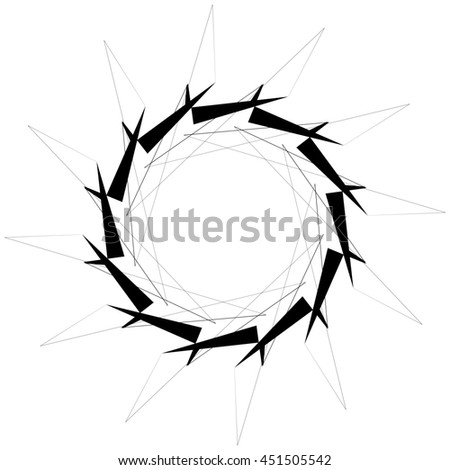 Circular geometric element. Rotating shapes, forms abstract illustration.