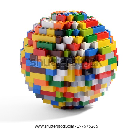 Circular globe or sphere constructed of multicolored interlocking blocks, a well known childhood toy which can be assembled and disassembled multiple times, on a white background - stock photo