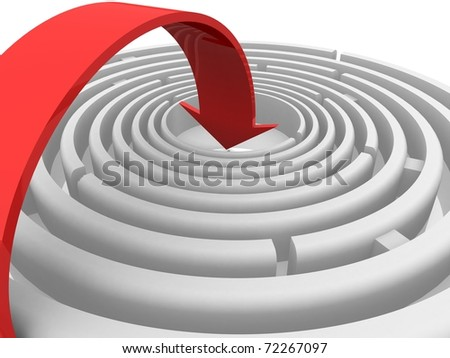 circular labyrinth in the center of which is directed arrow - stock photo