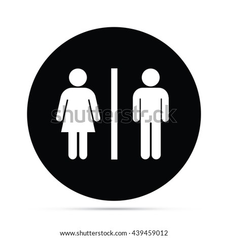 Circular Male & Female Figures Symbol Icon.  Raster Version - stock photo