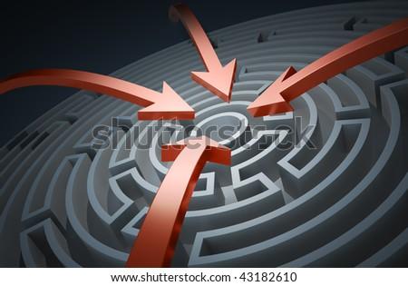 Circular maze with red arrows - stock photo