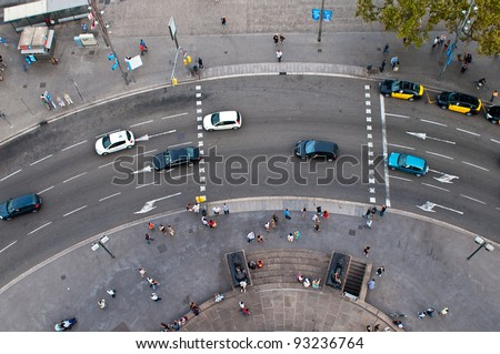 Circular motion view from the top, Barcelona, Spain - stock photo