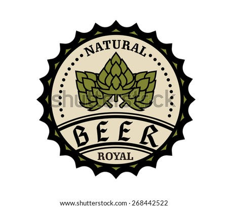 Circular natural royal beer icon or bottle cap design with text and hops