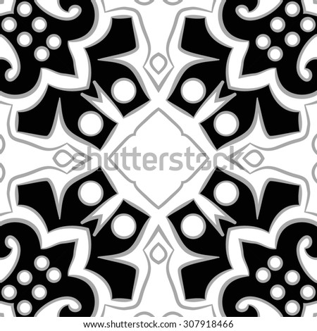 Circular   pattern of floral motif,  spirals,ellipses, spots, copy space. Hand drawn.