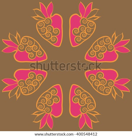 Circular  pattern of floral motif,strawberry, object,leaves, spirals,fruit, copy space. Hand drawn.