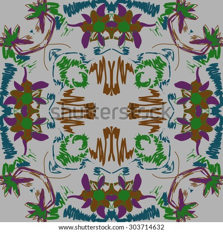 Circular   pattern of floral  motif, stripes,  spots, flowers, ellipses. Hand drawn.