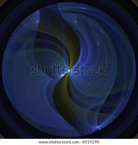 Circular pattern with lined texture (computer generated, fractal abstract background)